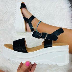 Black shimmer platform sandal